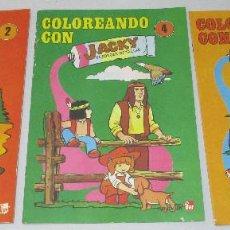 Cómics: 3 LIBRITOS COLOREANDO CON JACKY EL BOSQUE DE TALLAC JACKIE Y NUCA FHER 1979. Lote 210976341