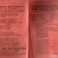 Cómics: CANCIONES POPULARES Nº 35 - SALÓN LOS PAJARITOS QUINTETO OLIVER - PALMA. Lote 233370615