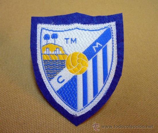 ESCUDO, ESCUDO DE TELA, PARCHE, C. MALAGA, TM, FUTBOL, 8 X 6 CM, RARO (Coleccionismo Deportivo - Ropa y Complementos - Complementos deportes)