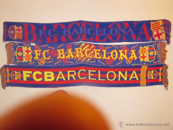 Coleccionismo deportivo: 3 BUFANDAS - F.C. BARCELONA - USADAS - Foto 2 - 40946645