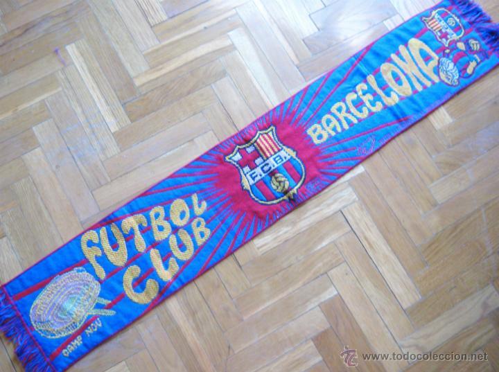 BUFANDA SCARV FC BARCELONA OFICIAL ANTIGUA : ESCUDO + NOMBRE + CAMP NOU + L'AVUI (Coleccionismo Deportivo - Ropa y Complementos - Complementos deportes)