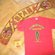 Coleccionismo deportivo: KIT SELECCION DE ESPAÑA FUTBOL : BUFANDA + CAMISETA CAMPEON EURO 2012 + BANDERIN. Lote 99418851