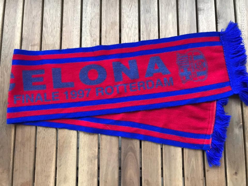 BUFANDA FINAL COPA DE EUROPA DEL BARCELONA EN ROTTERDAM EN 1997 (Coleccionismo Deportivo - Ropa y Complementos - Complementos deportes)