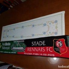 Coleccionismo deportivo: BUFANDA DE LA ELIMINATORIA DE UEFA EUROPA LEAGUE REAL BETIS Y STADE RENNAIS F.C NUEVA ECHARPE SCARF. Lote 151624662