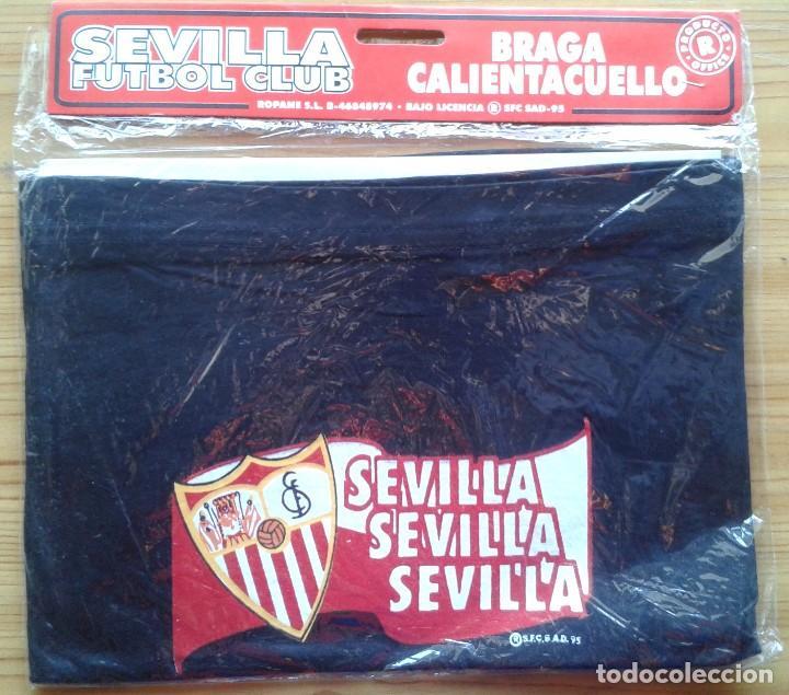 Coleccionismo deportivo: LOTE 3 BRAGA CALIENTA CUELLO SEVILLA FC NEGRA OFICIAL NUEVA Y ANTIGUA + FUNDA AÑOS 90 ORIGINAL - Foto 2 - 184755417
