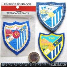 Coleccionismo deportivo: LOTE 3 ESCUDO TELA CD MALAGA CF ANTIGUO LOGO BORDADO PARCHE FUTBOL PATCH FLICKEN R13-R. Lote 204127681