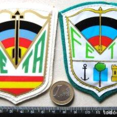 Coleccionismo deportivo: LOTE 2 ESCUDO TELA FEDERACION ESPAÑOLA TIRO CON ARCO DIFERENTES PARCHE PATCH FLICKEN R20. Lote 193742853