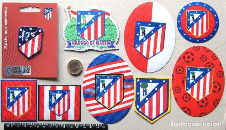 LOTE 9 ESCUDO TELA ATLETICO DE MADRID ANTIGUO LOGO & NEW PARCHE FUTBOL PATCH FLICKEN R48 (Coleccionismo Deportivo - Ropa y Complementos - Complementos deportes)