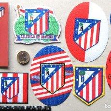 Coleccionismo deportivo: LOTE 9 ESCUDO TELA ATLETICO DE MADRID ANTIGUO LOGO & NEW PARCHE FUTBOL PATCH FLICKEN R48. Lote 193748832