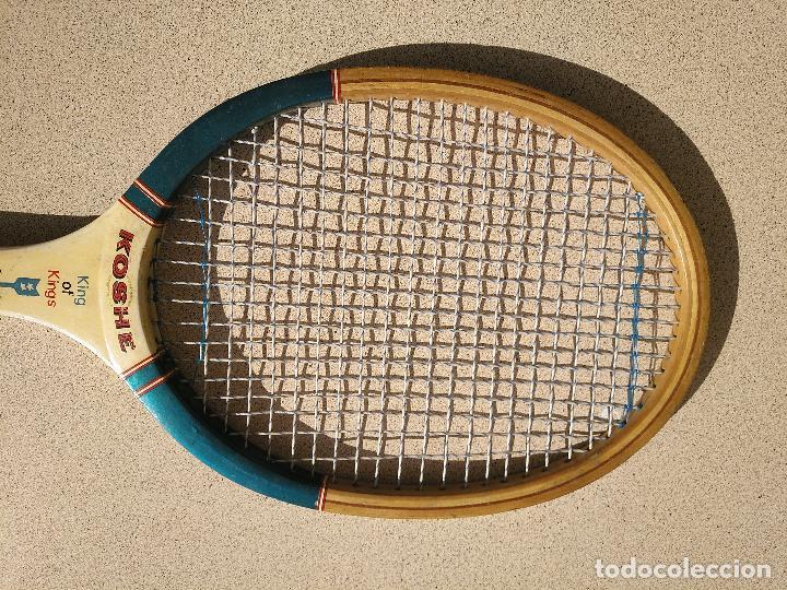 Coleccionismo deportivo: Raqueta de tenis de madera Marca Koshe - Foto 3 - 196822896