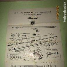 Coleccionismo deportivo: ANTIGUO CARTEL DESPIECE FUSIL OLEONEUMÁTICO SUBMARINO DE NENROD MOD. BUCANERO S.-SILVER. Lote 206371687