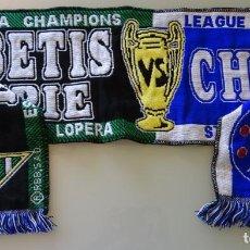 Colecionismo desportivo: BUFANDA DE FÚTBOL. REAL BETIS BALOMPIÉ VS CHELSEA FOOTBALL CLUB. CHAMPIONS LEAGUE 2005 2006. 100 GR. Lote 212106378