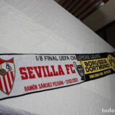Coleccionismo deportivo: BUFANDA DE1/8 FINAL DE LA CHAMPIONS LEAGUE 2020 ENTRE SEVILLA FC Y BORUSSIA DORTMUND. Lote 244561470