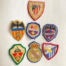 Coleccionismo deportivo: PARCHES TELA FUTBOL REAL MADRID-BARÇA-ELCHE-LEVANTE-VALENCIA-ATLETICO BILBAO-MALAGA. Lote 262529475