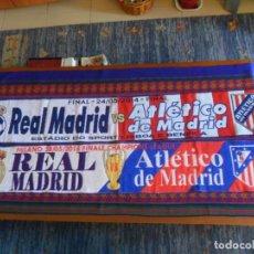 Coleccionismo deportivo: BUFANDA FINAL CHAMPIONS LEAGUE LISBOA 2014 Y MILAN 2016 REAL MADRID VS ATLÉTICO DE MADRID. RARAS. BE. Lote 294013333