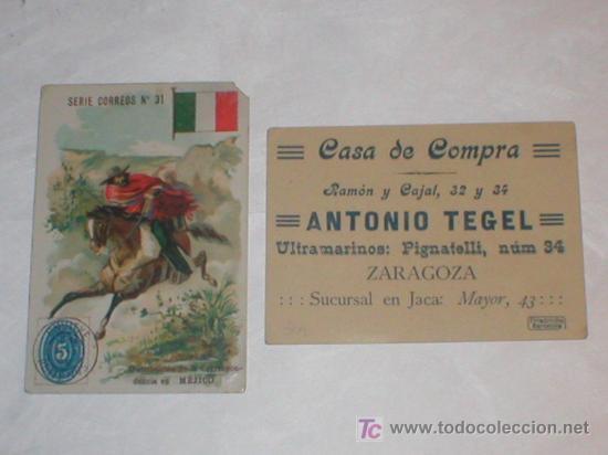 ZARAGOZA DOS CROMOS ANTONIO TEGEL CASA DE COMPRA ULTRAMARINOS CALLE PIGNATELLI SUCURSAL EN JACA (Coleccionismo - Cromos y Álbumes - Cromos Antiguos)
