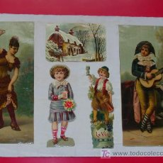 Coleccionismo Cromos antiguos: HOJA CON 5 CROMOS 1900 APROX Y EN EL REVERSO 7 RECORTES PRENSA TEMA VALENCIANO. Lote 26849716