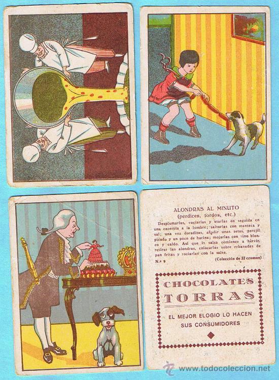 LOTE DE CROMOS. CROMOS SUELTOS; 1,00 €. RECETAS. CHOCOLATE CHOCOLATES TORRAS. (Coleccionismo - Cromos y Álbumes - Cromos Antiguos)