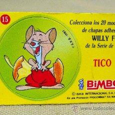 Coleccionismo Cromos antiguos: CROMO PREMIUM BIMBO, 1980S, CON CHAPA ADHESIVA, WILLY FOG, Nº 15, TICO. Lote 27330226