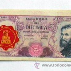 Coleccionismo Cromos antiguos: TELE BANCO CANCIÓN - CROMO 10000 LIRAS DE ITALIA. Lote 27820421