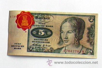 TELE BANCO CANCIÓN - CROMO 5 MARCOS DE ALEMANIA (Coleccionismo - Cromos y Álbumes - Cromos Antiguos)