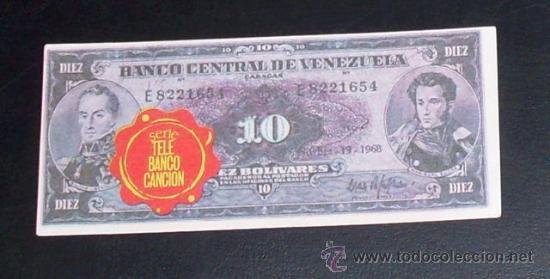 CROMO BILLETE TELE BANCO CANCION - 10 BOLIVARES - VENEZUELA (Coleccionismo - Cromos y Álbumes - Cromos Antiguos)
