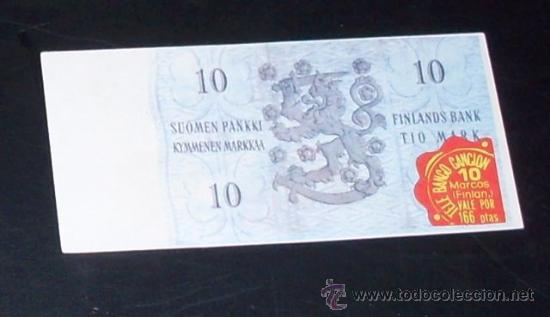 Coleccionismo Cromos antiguos: CROMO BILLETE TELE BANCO CANCION - 10 MARCOS - FINLANDIA - Foto 2 - 27910600