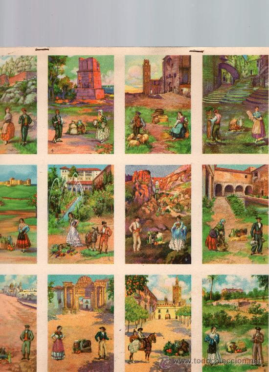 CUATRO LAMINAS DE CROMOS DE CIUDADES DE ESPAÑA 48 CROMOS (Coleccionismo - Cromos y Álbumes - Cromos Antiguos)