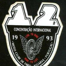 Coleccionismo Cromos antiguos: PEGATINA CONCENTRACION INTERNACIONAL DE MOTOS . CLUB DE FARO ALGARBE PORTUGAL. 1993. Lote 206842596