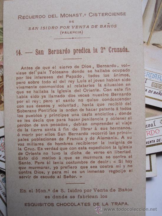 Coleccionismo Cromos antiguos: RARA Y BELLA COLECCION DE CROMOS. VIDA DE SAN BERNARDO. CHOCOLATES DE LA TRAPA - Foto 4 - 28278070
