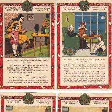 Coleccionismo Cromos antiguos: LOTE DE 4 CROMOS DE LA COLECCION LA TELEFONIA SIN HILOS-CASA AMATLLER. Lote 111917000