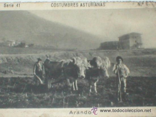 COSTUMBRES ASTURIANAS ASTURIAS ARANDO CROMO AÑOS 20 (Coleccionismo - Cromos y Álbumes - Cromos Antiguos)