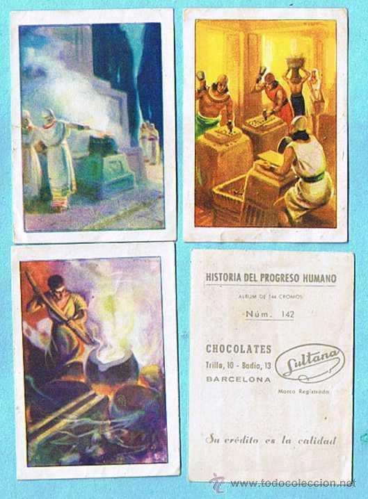 LOTE DE CROMOS. CROMOS SUELTOS; 0,50 €. HISTORIA DEL PROGRESO HUMANO. CHOCOLATE CHOCOLATES SULTANA. (Coleccionismo - Cromos y Álbumes - Cromos Antiguos)