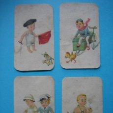 Coleccionismo Cromos antiguos: LOTE DE 4 CROMOS ANTIGUOS DE NIÑOS CON JUGUETES CON PUBLICIDAD AL DORSO VER FOTOS ADICIONALES. Lote 165033134