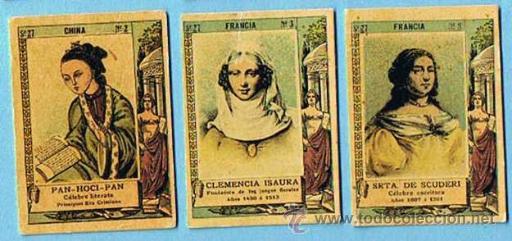 CROMOS SUELTOS; 0,80. FOTOTIPIAS DE CAJAS DE CERILLAS. POETISAS Y ESCRITORAS. SERIE 27. ANT A 1920. (Coleccionismo - Cromos y Álbumes - Cromos Antiguos)
