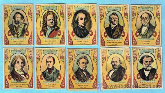 COLECCION COMPLETA DE 75 FOTOTIPIAS CAJAS DE CERILLAS. SERIE 28. MUSICOS CONTEMPORANEOS. ANT. 1920. (Coleccionismo - Cromos y Álbumes - Cromos Antiguos)