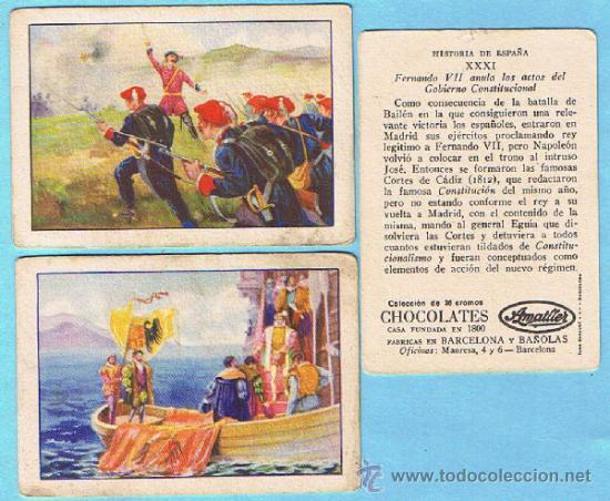 LOTE DE CROMOS. CROMOS SUELTOS; 0,80 € HISTORIA DE ESPAÑA COLECCION DE 36 CROMOS CHOCOLATES AMATLLER (Coleccionismo - Cromos y Álbumes - Cromos Antiguos)