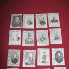 Coleccionismo Cromos antiguos: 16 CROMOS ANTIGUOS HACIA 1890/1900 APROX - PERSONAJES ESPAÑOLES - TABACO - CERILLAS - PAPEL FUMAR . Lote 32707279
