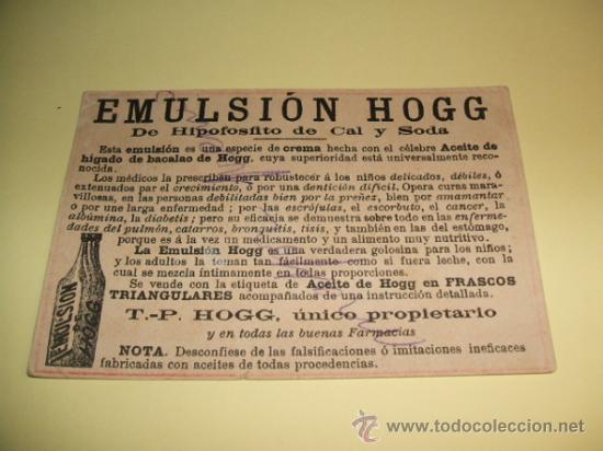 Coleccionismo Cromos antiguos: CROMO EMULSION HOGG CROMO PUBLICITARIO SIGLO XIX - Foto 2 - 33371964