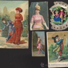 Coleccionismo Cromos antiguos: LOTE DE 5 CROMOS. SIGLO XIX-XX.. Lote 33994214