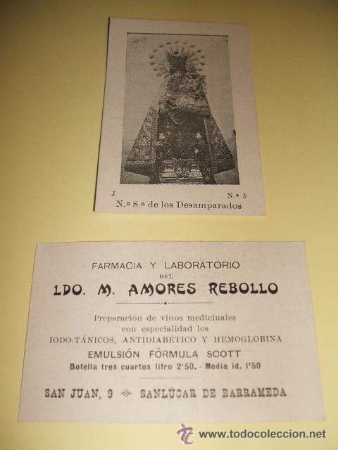 SANLUCAR DE BARRAMEDA CADIZ CROMO PUBLICITARIO FARMACIA LICENCIADO AMORES REBOLLO (Coleccionismo - Cromos y Álbumes - Cromos Antiguos)