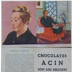 Coleccionismo Cromos antiguos: CROMO PREMIOS NOBEL Nº 83 CHOCOLATES ACIN (BARBASTRO) AÑOS 40 GABRIELA MISTRAL. Lote 36227386