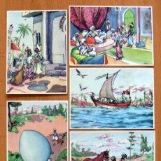 Coleccionismo Cromos antiguos: HISTORIA DE SINDBAD EL MARINO - CHOC. LLOVERAS/DESAYUNO ANA 1956 - COMPLETA, 64 CROMOS NUNCA PEGADOS. Lote 39057694