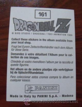 Coleccionismo Cromos antiguos: Cromo nº161 Dragon Ball Z - Panini (1989) - Foto 2 - 39830395