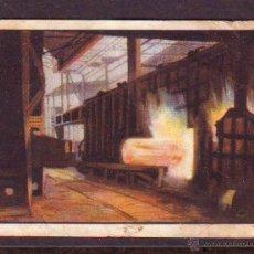 Coleccionismo Cromos antiguos: CROMO Nº 6,SERIE 15,PRIMER ALBUM GALLINA BLANCA,AÑOS 1940.FABRICACION DEL ACERO.. Lote 39960990