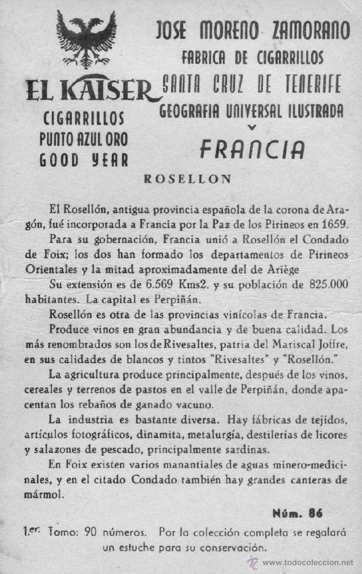Coleccionismo Cromos antiguos: 25 cromos, geografia de francia, fabrica de cigarrillos jose moreno zamorano,tenerife - Foto 2 - 39990220