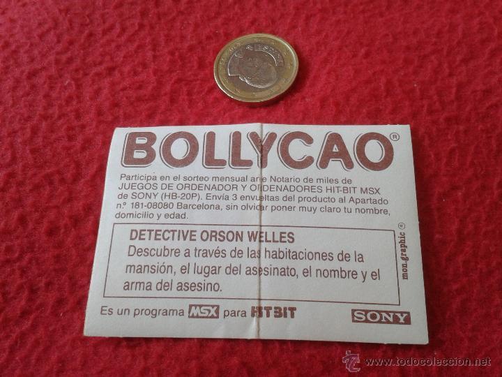 Coleccionismo Cromos antiguos: CROMO BOLLYCAO AÑOS 80 MSX JUEGOS DE ORDENADOR HIT-BIT SONY DETECTIVE ORSON WELLES NUNCA PEGADO - Foto 2 - 40267153