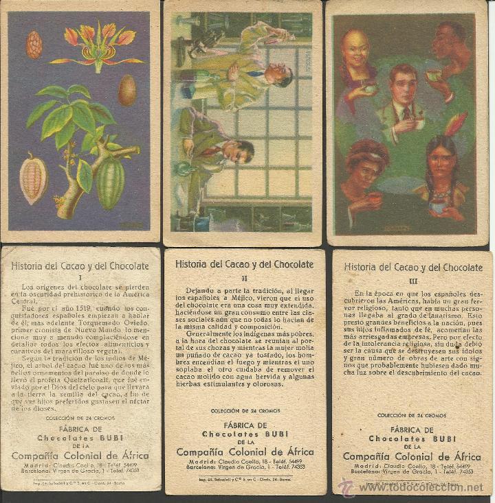 Coleccionismo Cromos antiguos: HISTORIA DEL CACAO Y DEL CHOCOLATE - COMPLETA 24 CROMOS-CHOCOLATES BUBI-COLONIAL DE AFRICA- (CR-315) - Foto 6 - 42331092