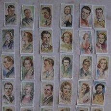 Coleccionismo Cromos antiguos: LOTE DE 40 ANTIGUOS CROMOS DE FILM STARS. JOHN PLAYER & SON . PLAYER'S CIGARETTES .AÑO 1938 . Lote 44970877