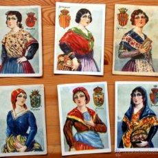 Coleccionismo Cromos antiguos: LITOGRAFIAS - 6 CROMOS TRAJES REGIONALES - GERONA - TERUEL - HUESCA - ZARAGOZA - ALAVA - VIZCAYA. Lote 45717248